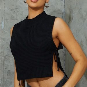 Black Knitted Tie Side Top